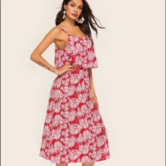 Dresses & Skirts - Tropical print two layer cami dress